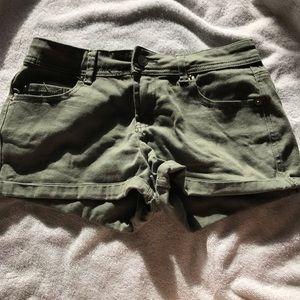 Dark forest green denim shorts